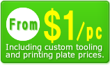 From 1USD/pcs. Including custom tooling and printing plate prices.